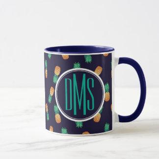 Pineapples On Navy   Monogram Mug