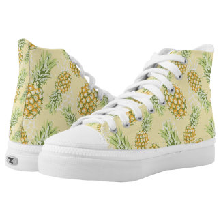 pineapples on soft yellow High-Top sneakers