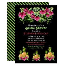 Pineapples Orchids Ferns Tropical Bridal Shower Card at Zazzle
