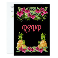 Pineapples Orchids Ferns Tropical RSVP Card at Zazzle