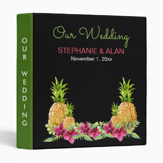Pineapples Orchids Ferns Tropical Wedding Binder
