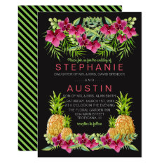 Pineapples Orchids Ferns Tropical Wedding Card at Zazzle