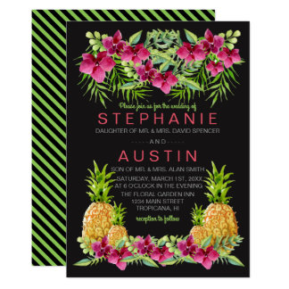 Pineapples Orchids Ferns Tropical Wedding Card