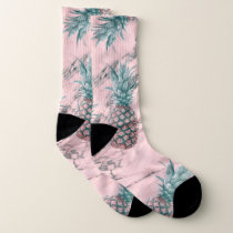 Pineapples Pink Marble Swirl Modern Tropical Chic Socks