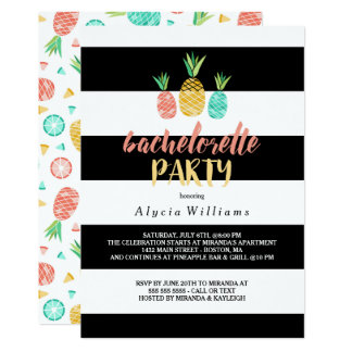 Pineapples Striped Bachelorette Party Card