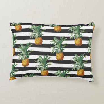 pineapples stripes grey accent pillow