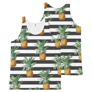 Beach Themed pineapples stripes grey All-Over-Print tank top