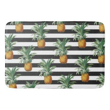 pineapples stripes grey bathroom mat