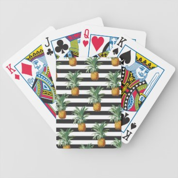 pineapples stripes grey bicycle playing cards