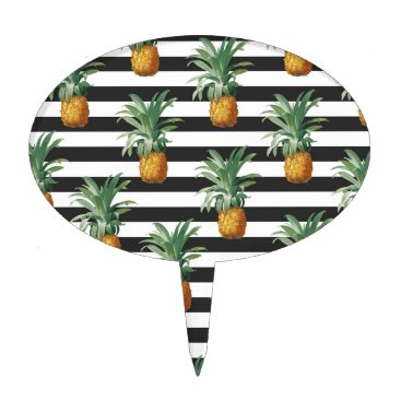 Beach Themed pineapples stripes grey cake topper