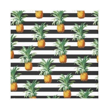 Beach Themed pineapples stripes grey canvas print