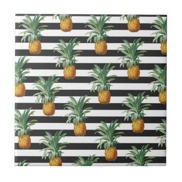 pineapples stripes grey ceramic tile