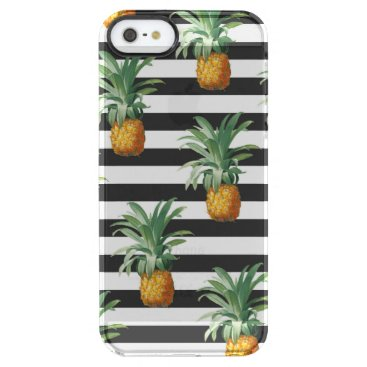 pineapples stripes grey clear iPhone SE/5/5s case