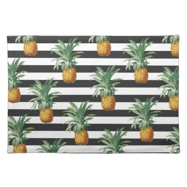 Beach Themed pineapples stripes grey cloth placemat