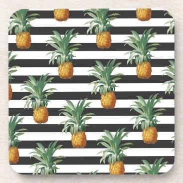 pineapples stripes grey coaster
