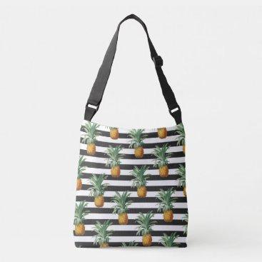 pineapples stripes grey crossbody bag