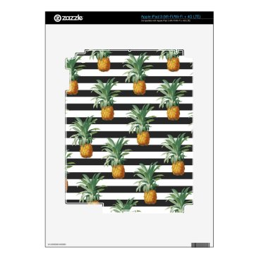 Beach Themed pineapples stripes grey decals for iPad 3