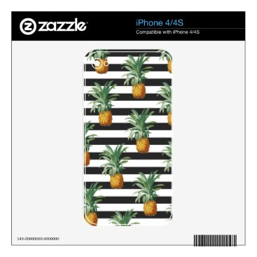 Beach Themed pineapples stripes grey decals for the iPhone 4S