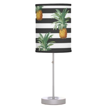 pineapples stripes grey desk lamp