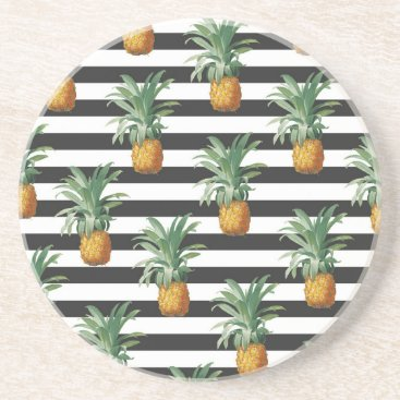 pineapples stripes grey drink coaster