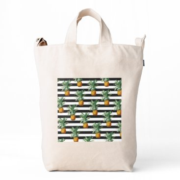 pineapples stripes grey duck bag