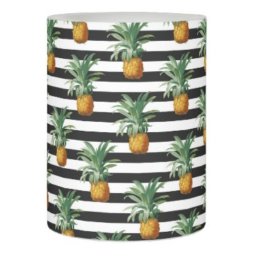 Beach Themed pineapples stripes grey flameless candle