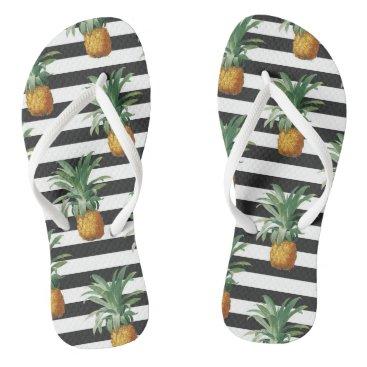 Beach Themed pineapples stripes grey flip flops