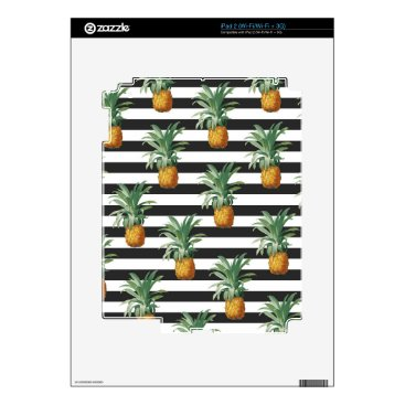 Beach Themed pineapples stripes grey iPad 2 decal