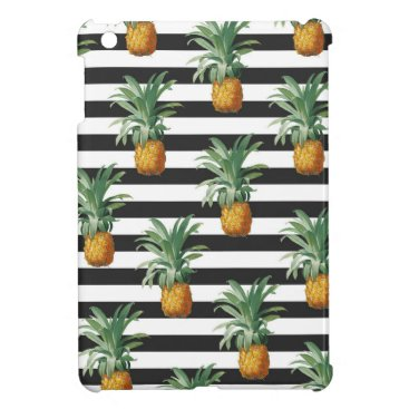 Beach Themed pineapples stripes grey iPad mini case