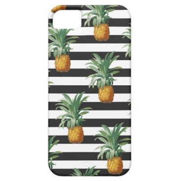 Beach Themed pineapples stripes grey iPhone SE/5/5s case