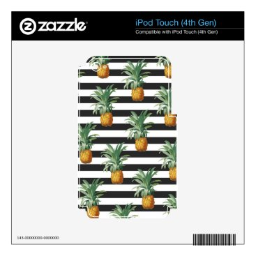 Beach Themed pineapples stripes grey iPod touch 4G skins
