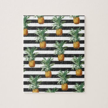 Beach Themed pineapples stripes grey jigsaw puzzle