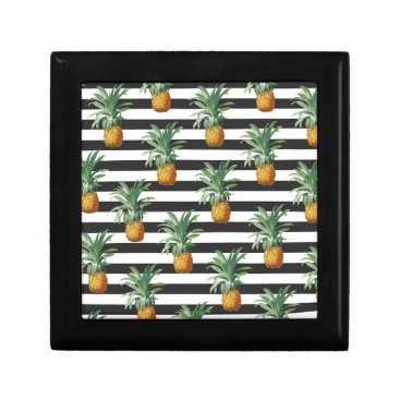 Beach Themed pineapples stripes grey keepsake box