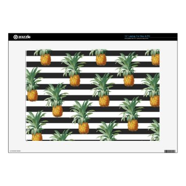 Beach Themed pineapples stripes grey laptop skins