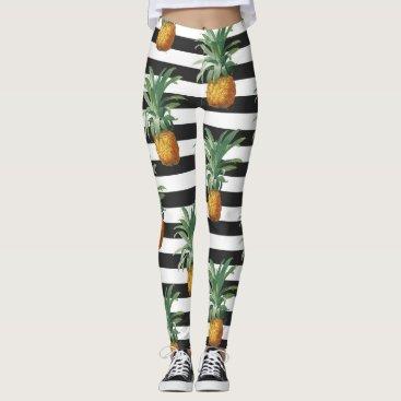 pineapples stripes grey leggings
