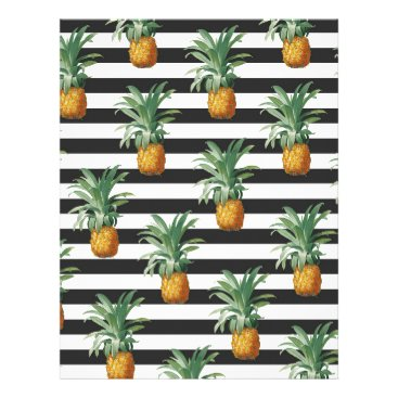 Beach Themed pineapples stripes grey letterhead