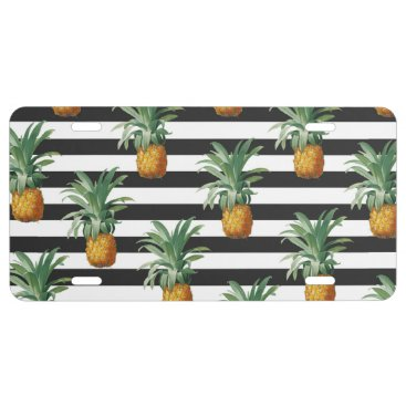 pineapples stripes grey license plate