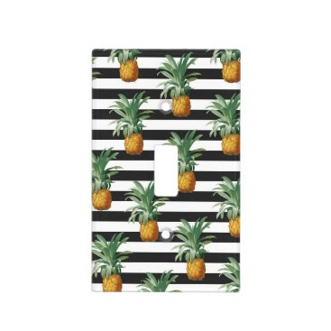pineapples stripes grey light switch cover