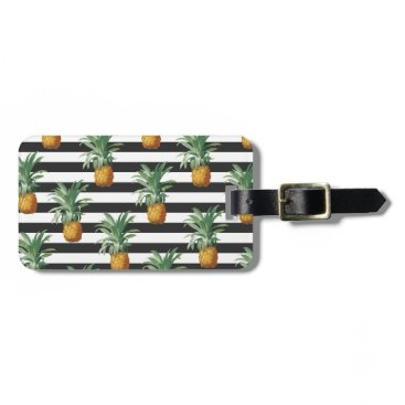 Beach Themed pineapples stripes grey luggage tag