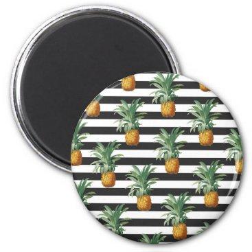 pineapples stripes grey magnet