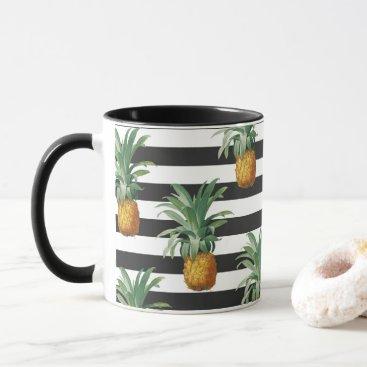pineapples stripes grey mug