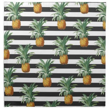 Beach Themed pineapples stripes grey napkin