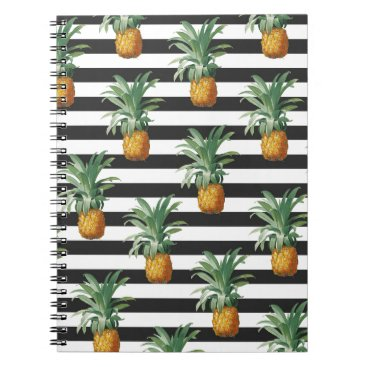 Beach Themed pineapples stripes grey notebook