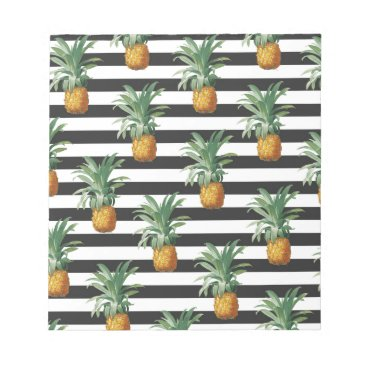 Beach Themed pineapples stripes grey notepad