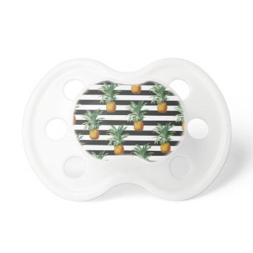 pineapples stripes grey pacifier
