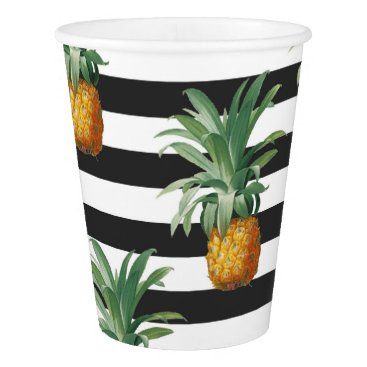 Beach Themed pineapples stripes grey paper cup