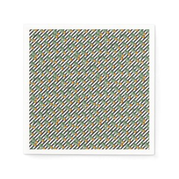Beach Themed pineapples stripes grey paper napkin