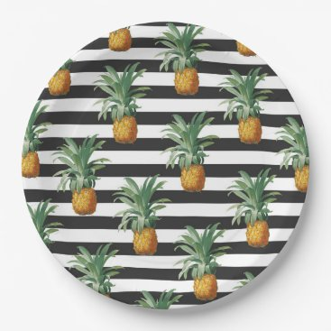 Beach Themed pineapples stripes grey paper plate