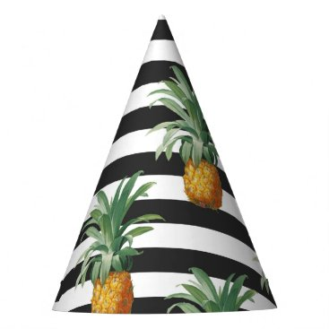 Beach Themed pineapples stripes grey party hat