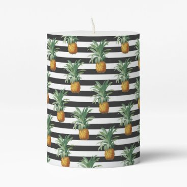 Beach Themed pineapples stripes grey pillar candle